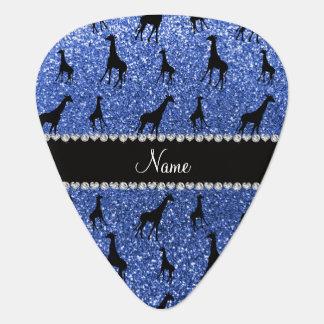 Personalized name blue glitter giraffes guitar pick