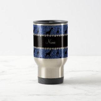 Personalized name blue glitter giraffes travel mug