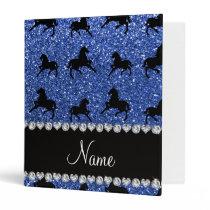 Personalized name blue glitter horses binder