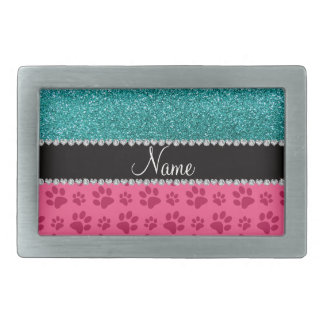 Personalized name blue glitter pink paws rectangular belt buckle