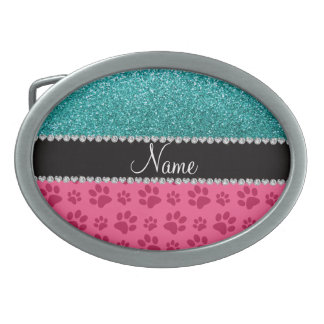 Personalized name blue glitter pink paws belt buckle