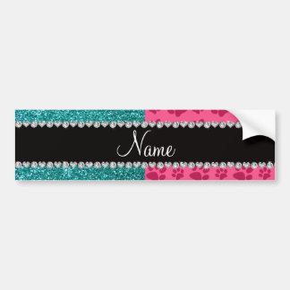 Personalized name blue glitter pink paws bumper sticker