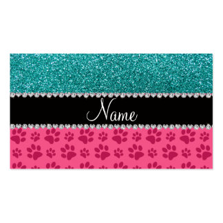 Personalized name blue glitter pink paws business card