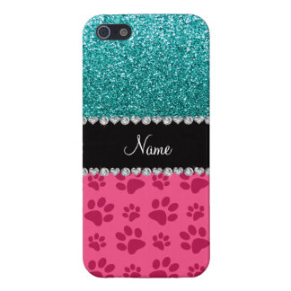 Personalized name blue glitter pink paws case for iPhone SE/5/5s