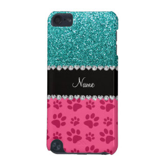 Personalized name blue glitter pink paws iPod touch (5th generation) case