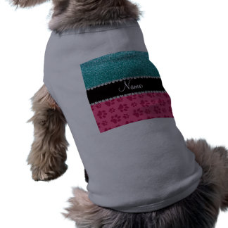 Personalized name blue glitter pink paws pet clothing