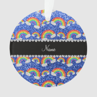 Personalized name blue glitter rainbows