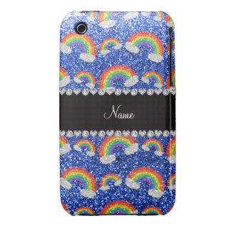 Personalized name blue glitter rainbows iPhone 3 cases