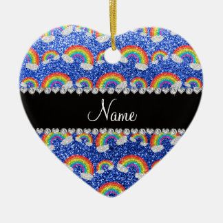 Personalized name blue glitter rainbows christmas ornaments