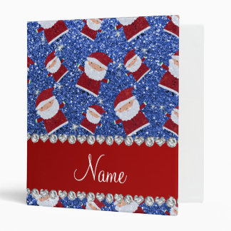 Personalized name blue glitter santas 3 ring binder