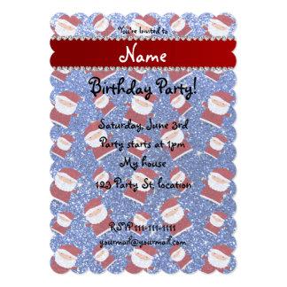 Personalized name blue glitter santas 5x7 paper invitation card