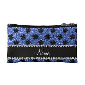 Personalized name blue glitter shamrocks makeup bag