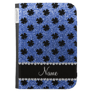 Personalized name blue glitter shamrocks kindle 3 case