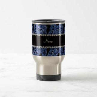 Personalized name blue glitter singer travel mug