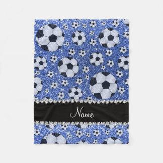 Personalized name blue glitter soccer balls fleece blanket