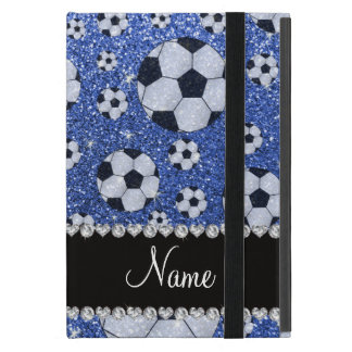 Personalized name blue glitter soccer balls iPad mini cover