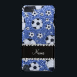"Personalized name blue glitter soccer balls iPod touch 5G cover<br><div class=""desc"">Soccer gift ideas. Modern, girly, chic and trendy Custom name sports blue soccer balls pattern background glitter sparkles (faux not real glitter) with pretty black diamonds (faux not real diamonds) with beautiful hearts and dots stripe personalized with just add your name gifts or monogram gifts or your initials for a...</div>"