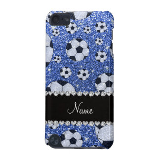 Personalized name blue glitter soccer balls iPod touch 5G cover