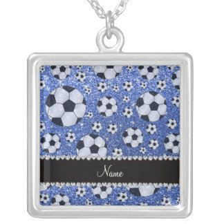 Personalized name blue glitter soccer balls personalized necklace