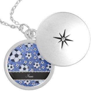 Personalized name blue glitter soccer balls pendant