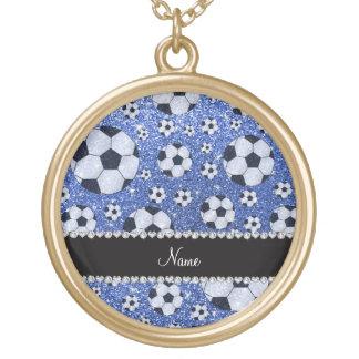 Personalized name blue glitter soccer balls pendants