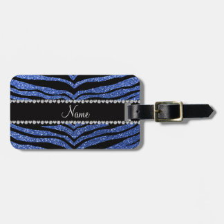 Personalized name blue glitter tiger stripes bag tag