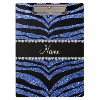 Personalized name blue glitter tiger stripes clipboard