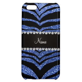 Personalized name blue glitter tiger stripes cover for iPhone 5C