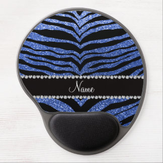 Personalized name blue glitter tiger stripes gel mouse pads