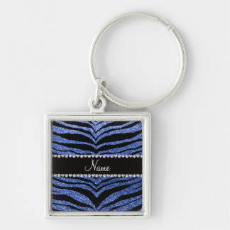 Personalized name blue glitter tiger stripes Silver-Colored square keychain