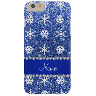 Personalized name blue glitter white snowflakes barely there iPhone 6 plus case