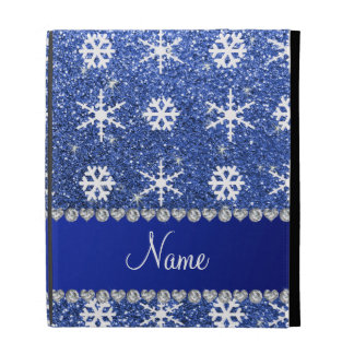Personalized name blue glitter white snowflakes iPad case