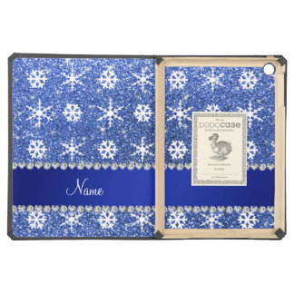 Personalized name blue glitter white snowflakes iPad air case