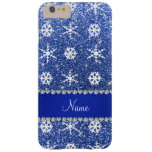 Personalized name blue glitter white snowflakes iPhone 6 plus case