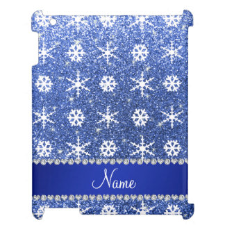 Personalized name blue glitter white snowflakes cover for the iPad 2 3 4