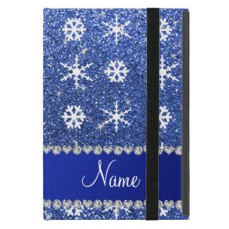 Personalized name blue glitter white snowflakes iPad mini case
