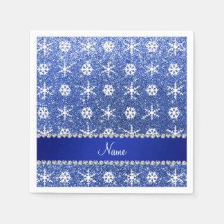Personalized name blue glitter white snowflakes paper napkins