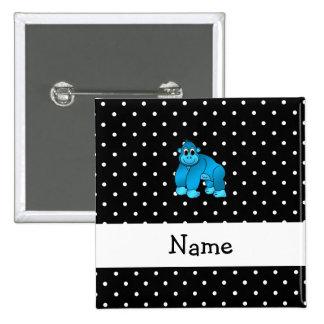 Personalized name blue gorilla black dots 2 inch square button