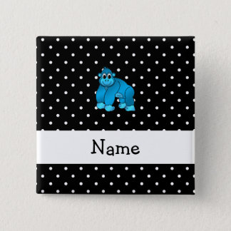 Personalized name blue gorilla black dots pinback button