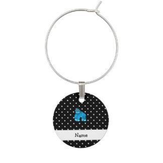 Personalized name blue gorilla black dots wine glass charm