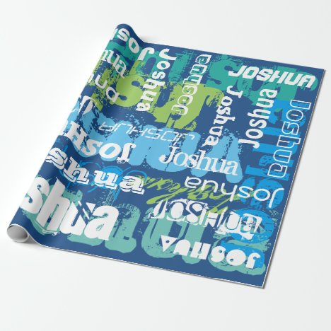 Personalized Name Blue Green Subway Art Design Wrapping Paper