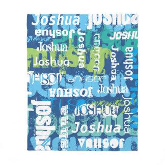 Personalized Name Blue Green Subway Art Fleece Blanket