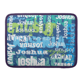 Personalized Name Blue Green Subway Art MacBook Pro Sleeve