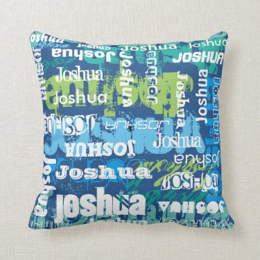 Personalized Name Blue Green Subway Art Pillows