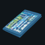"""Personalized Name Blue Green Subway Art Tri-fold Wallet<br><div class=""""desc"""">There will be no mistaking who this wallet belongs to! The artsy subway design plays with texture and shades of blue and green. The background is dark blue, with a layer of grunge fonts and another layer of white fonts on top. Personalize this sleeve with a name. The colors make...</div>"""
