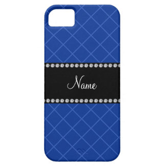 Personalized name blue grid pattern iPhone 5 cases