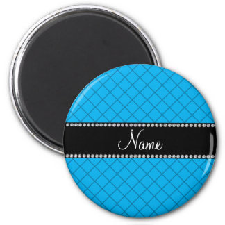 Personalized name blue grid pattern fridge magnets