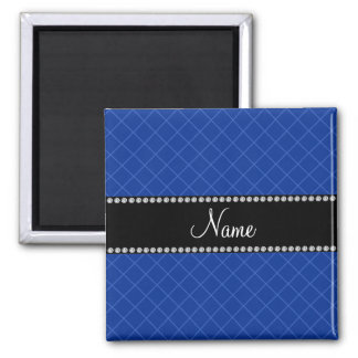 Personalized name blue grid pattern refrigerator magnets