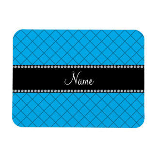 Personalized name blue grid pattern vinyl magnet