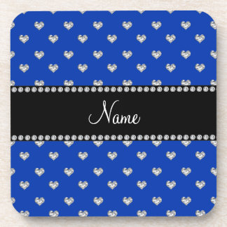 Personalized name blue heart diamonds coasters